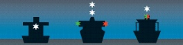 Diagram showing the correct navigation lights of larger vessels - front on