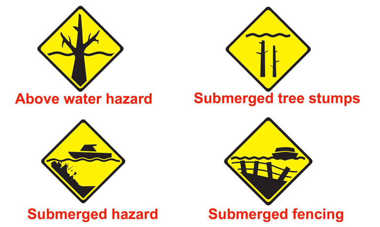 Images of common submerged hazard signs