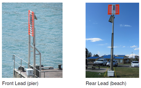 Photos of the front and rear leading lights at Sturgess Point, Port Campbell