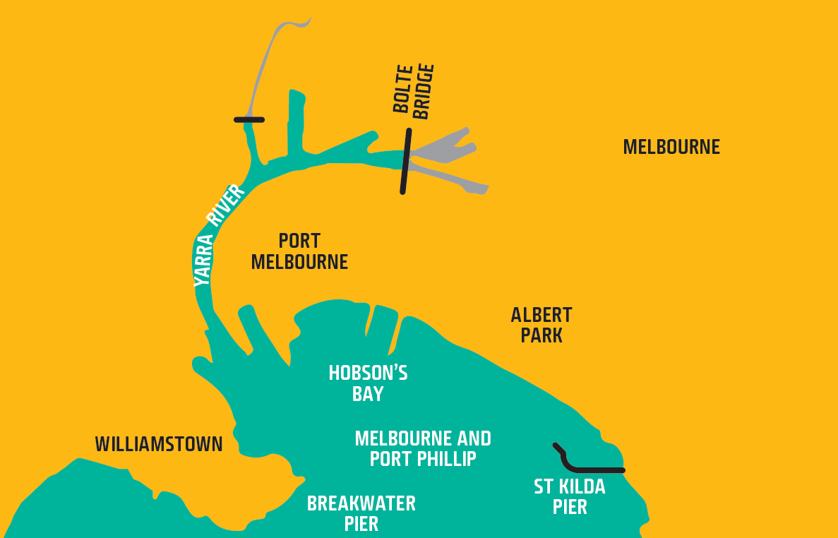 Map shows waters of Melbourne and Port Phillip