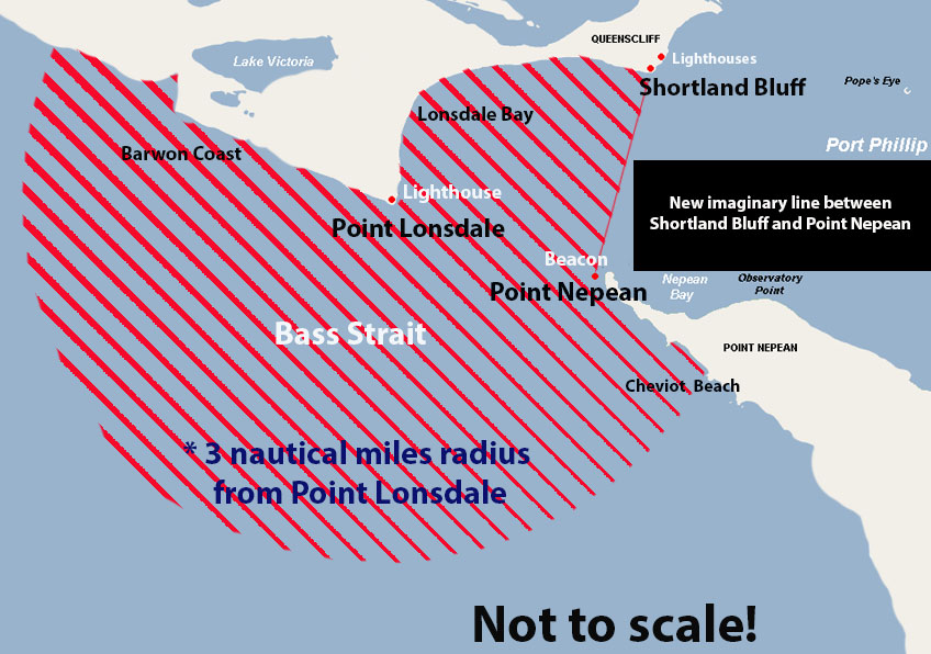 Map showing extended designated hazardous zone around Port Phillip Heads