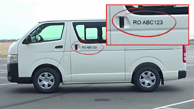 Minibus with ID number sticker on door