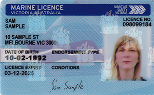 Front of a marine licence