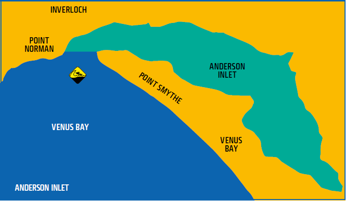 Map shows waters of Anderson Inlet