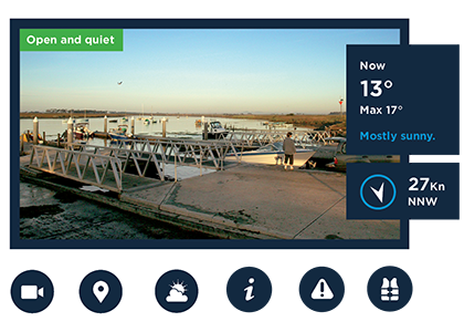 Boat ramp with weather forecast
