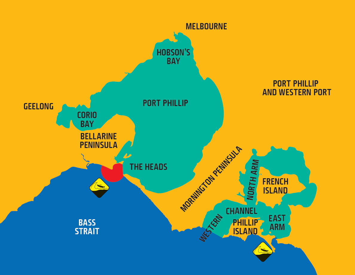 Map shows waters of Port Phillip and Western Port