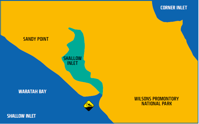 Map shows waters of Shallow Inlet