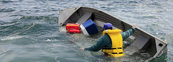 A swamped vessel