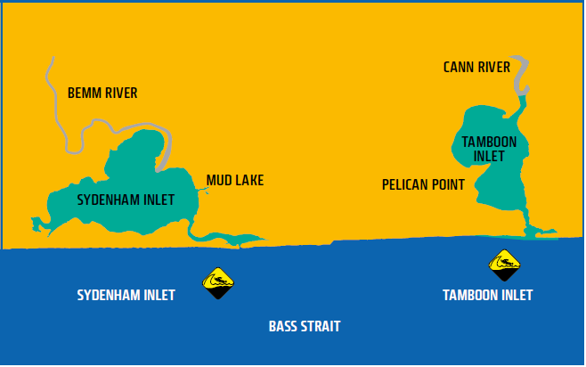 Map shows waters of Sydenham and Tamboon Inlets