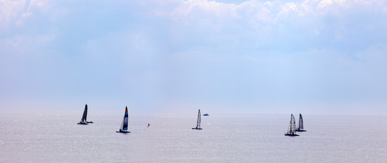 Panoramic photo of sailing boats