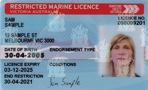 Front of a restricted marine licence