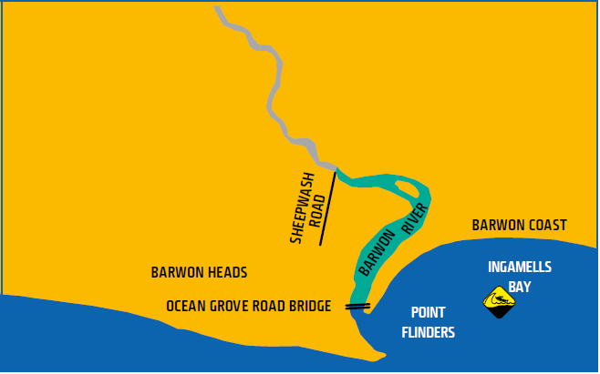 Map shows waters of Barwon Heads