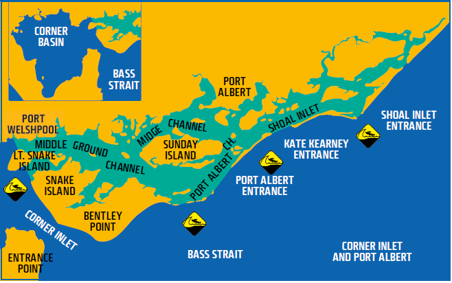 Map shows waters of Corner Inlet