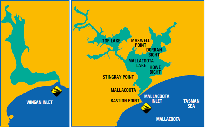 Map shows waters of Wingan Inlet and Mallacoota