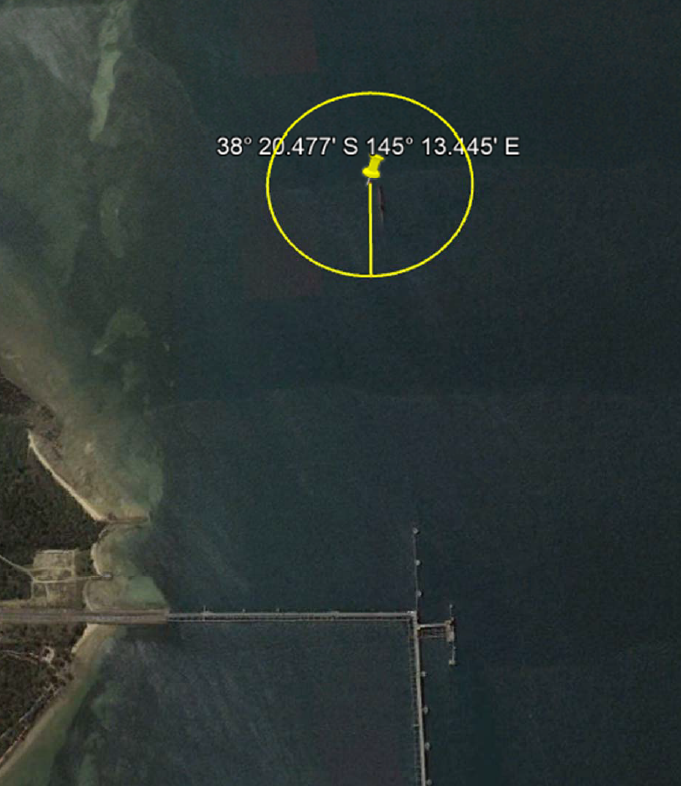 Satellite image of position on water