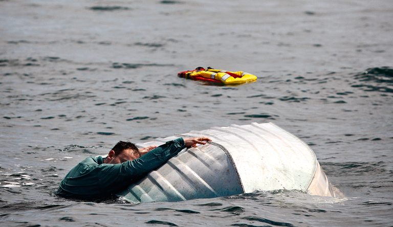 Photo of a capsized boat