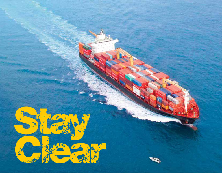 "Illustrative image of a big container ship with a warning to little boats to ""steer clea"""