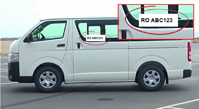 Minibus with printed ID number