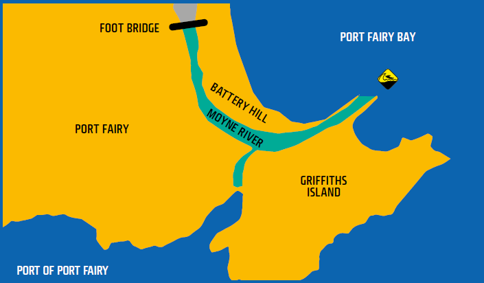 Map shows waters of Port Fairy
